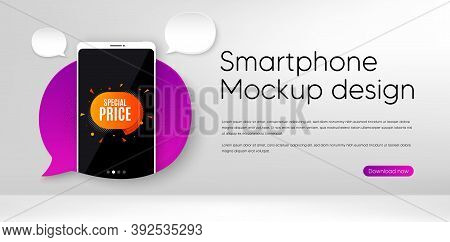 Special Price Sticker. Mobile Phone Vector Mockup. Discount Banner Shape. Sale Coupon Bubble Icon. S