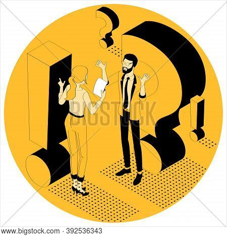 Exclamation And Question Mark. Flat Design Isometric Vector Illustration Of Young Man And Woman With