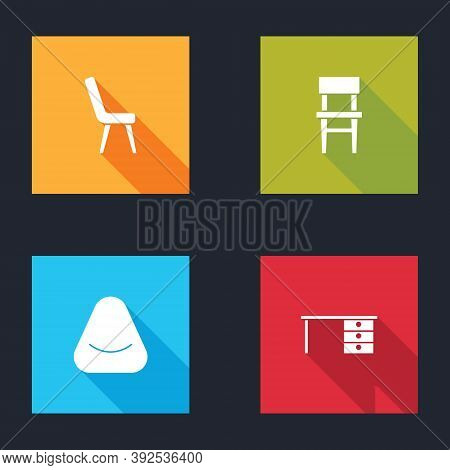 Set Armchair, Chair, Pouf And Office Desk Icon. Vector
