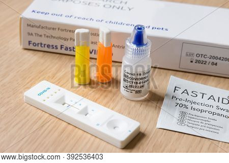 Buckingham, Uk - October 30, 2020. Covid Coronavirus Antibody Testing Kit. Imperial College London R