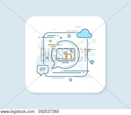 Touch Screen Line Icon. Abstract Square Vector Button. Online Quiz Test Sign. Touch Screen Line Icon