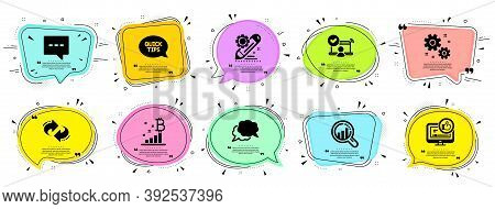 Technology Icons Set. Speech Bubble Offer Banners. Vector Coupon Badge. Included Icon As Chat Messag