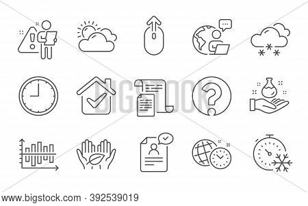 Freezing Timer, Time Management And Question Mark Line Icons Set. Swipe Up, Chemistry Lab And Docume
