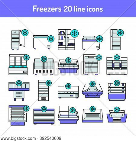 Freezer Cold Color Line Icons Set. Household Equipments.