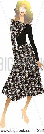 Stylish women's dress. Beautiful silhouette of the dress. Cocktail dress. Luxury girl. Black dress.