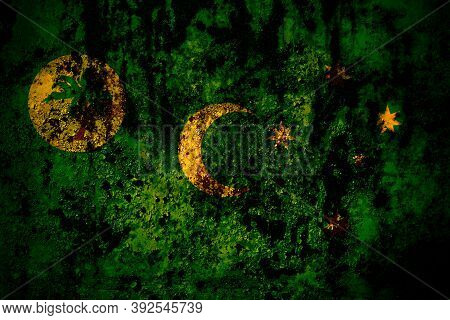 Australia, Australian, Cocos Islands Flag On Grunge Metal Background Texture With Scratches And Crac