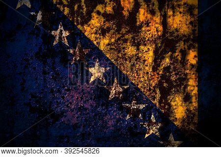 Bosnia And Herzegovina, Bosnian, Herzegovinian Flag On Grunge Metal Background Texture With Scratche