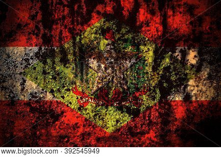 Brazil, Brazilian, Santa Catarina Flag On Grunge Metal Background Texture With Scratches And Cracks