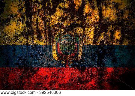 Ecuador, Ecuadorian Flag On Grunge Metal Background Texture With Scratches And Cracks