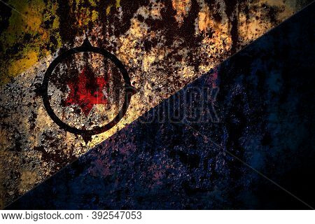 Netherlands, Dutch, Holland, Bonaire Flag On Grunge Metal Background Texture With Scratches And Crac