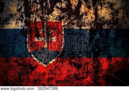 Slovakia, Slovakian Flag On Grunge Metal Background Texture With Scratches And Cracks