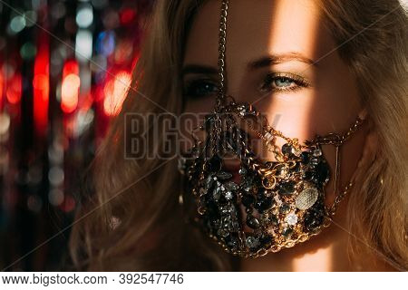 Pandemic Fashion. Festive Look. Christmas Party Handmade Accessory. Mysterious Blonde Woman In Gold