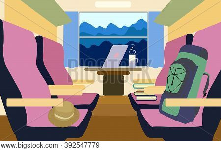 Colorful Background Train Interior With Passenger Compartment And Landscape Landscape Outside. Trave