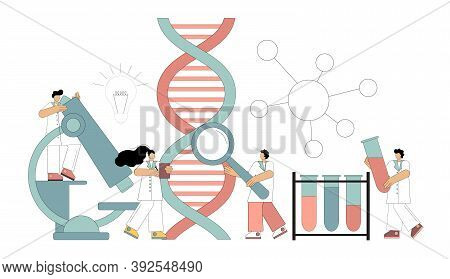 Genetic Dna Research. Chemical, Biological Experiments. Scientists Working In The Laboratory. Vector