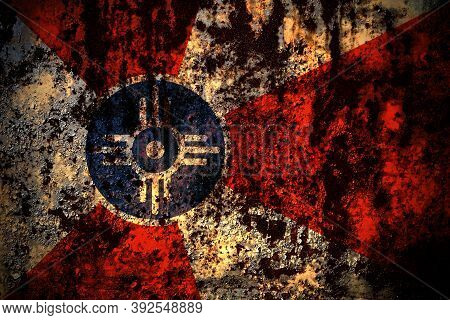 United States Of America, America, Us, Usa, American, Wichita, Kansas Flag On Grunge Metal Backgroun
