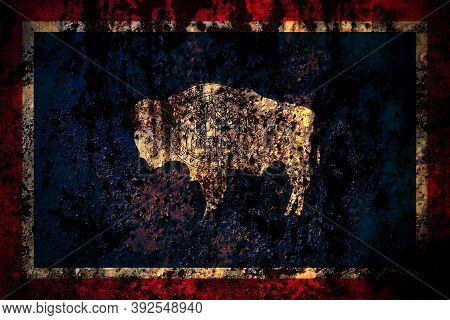 United States Of America, America, Us, Usa, American, Wyoming Flag On Grunge Metal Background Textur