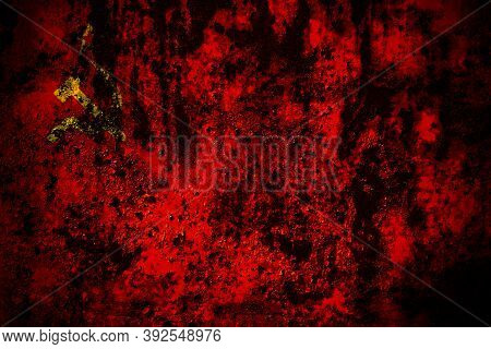 Ussr, Soviet, Russia, Russian, Communism Flag On Grunge Metal Background Texture With Scratches And