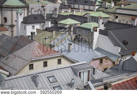 City Roofs View From Above In Salzburg Austria