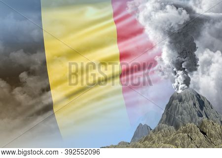 Stratovolcano Blast Eruption At Day Time With White Smoke On Belgium Flag Background, Suffer From Na