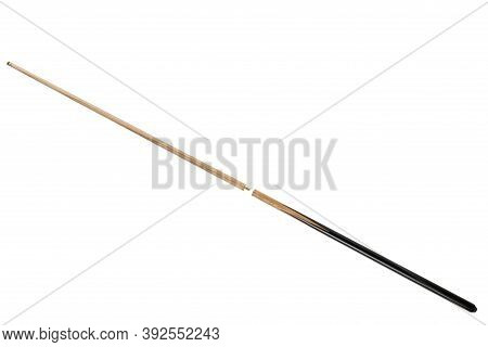 Collapsible Billiard Cue With Black Handle, On A White Background