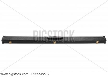 Black Leather Case For A Collapsible Cue, The Case Is Closed, On A White Background