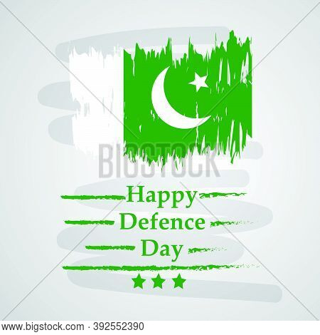 Illustration Of Pakistan Flag With Happy Defence Day Text On Grey Background On The Occasion Of Paki