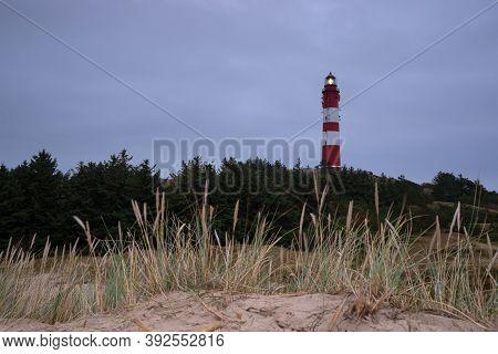 Panoramic Image Of The Wittduen Lighthouse At Daybreak, Amrum, Germany