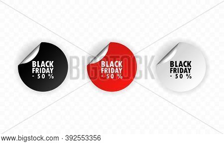 Black Friday Stiker. Sale Sticker. Sale Up To 50 Percents. Black, Red And White Discount. Vector Fla