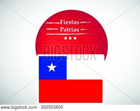 Illustration Of Chile Flag On Red Button Background With Fiestas Patrias Text On The Occasion Of Chi