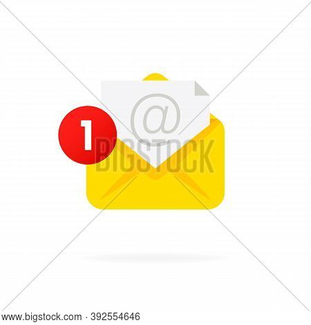Message Notification Icon. Envelope With Notification. Mail Notification With Red Marker One Message