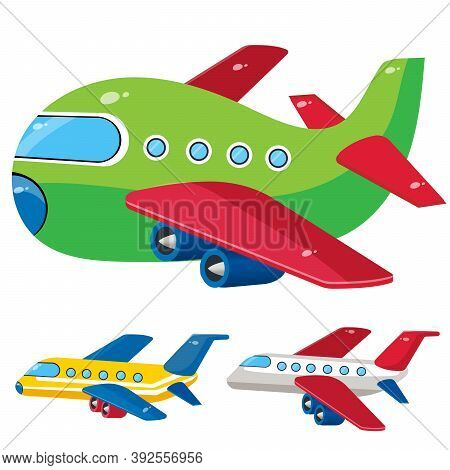 Color Images Of Cartoon Airplanes On A White Background. Vector Illustration Set Of Vehicle, Transpo