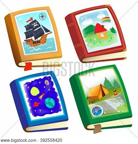 Color Image Of Children's Books On White Background. Fairy Tales And Adventure. Encyclopedia And Fic
