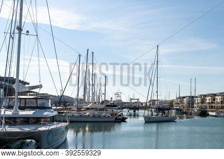 La Rochelle, C-m / France - 16 October 2020: Big Sailboat Enters The Marina And Harbor At La Rochell