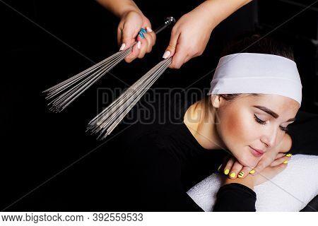 Taoist Massage With Metal Brooms. Iron Broom For Stuffing. Broom Massage.