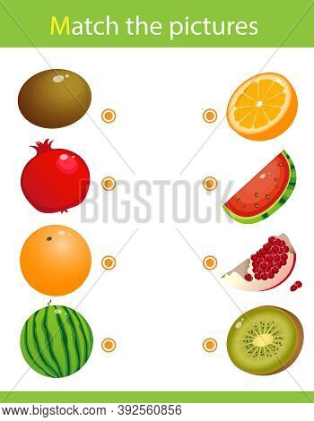 Matching Game, Education Game For Children. Puzzle For Kids. Match The Right Object. Fruits, Berries