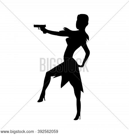 Firing Girl Abstract Silhouette, Female Isolated Silhouette. Beautiful Woman Spy In Shootout. Heroin