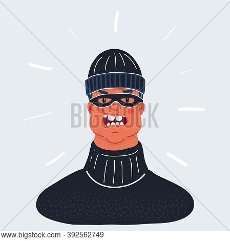 Vector Illustration Of Outlaw Man Portrate, Wearing Balaclava And Mask Isolated On White. Angry Face