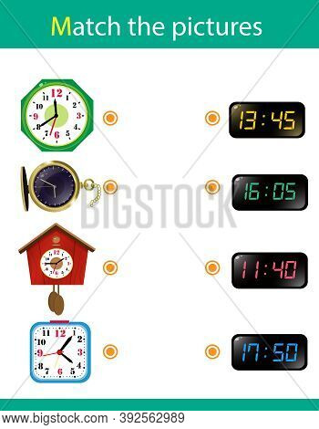 Matching Game, Education Game For Children. Puzzle For Kids. Match The Right Object. Watches And Tim