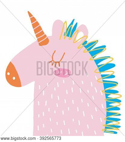 Funny Hand Drawn Vector Illustration With Cute Pastel Pink Unicorn Isolated On A White Background. S