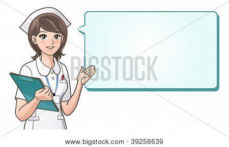 Young cute nurse providing information on a speech bubble