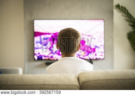 Back View Image Of Cute Boy Sitting On Sofa And Watching Tv.