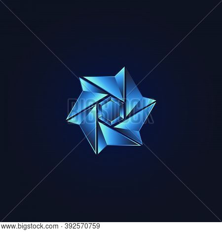 Geometrical Star Circulation Abstract Technology Logo Template Design.