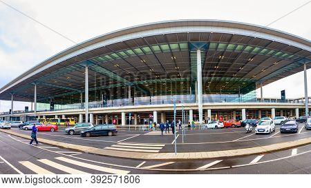 Schönefeld, Germany - November 1, 2020 - Passenger Terminal Berlin Brandenburg Airport At A Cloudy D
