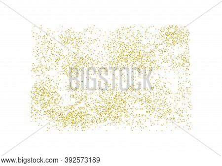 Rectangular Backdrop Golden Texture Crumbs. Gold Dust Scattering On A White Background. Particles Gr