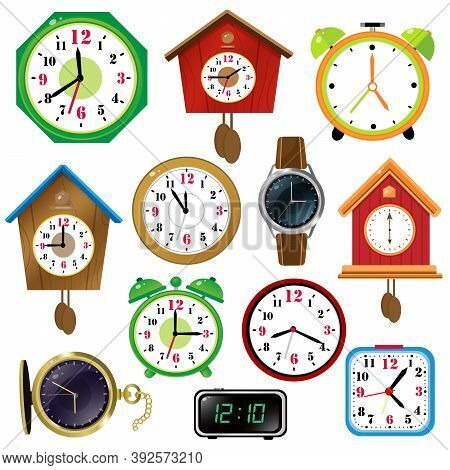 Color Images Of Watches On White Background. Alarm Clock,  Wall Clock With Cuckoo, Electronic Timepi