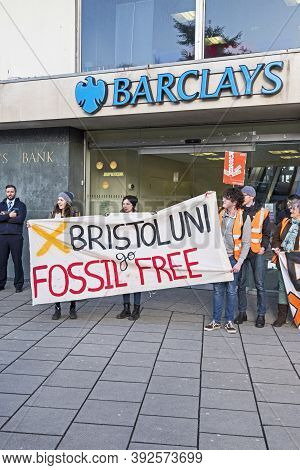 Bristol, Uk - February 15, 2018: Demonstrators From Fossil Free University Of Bristol Protest Agains