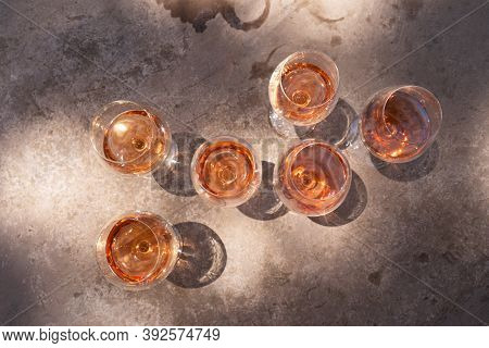 Pink Wine In Glasses With Shadows, Top View, Wine Testing Concept, Shadows Overlay