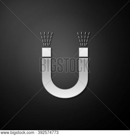 Silver Magnet Icon Isolated On Black Background. Horseshoe Magnet, Magnetism, Magnetize, Attraction.