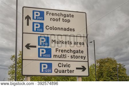 Doncaster, Yorkshire, England -  October 7, 2020. Town Centre Sign Indicating Multiple Car Parks To