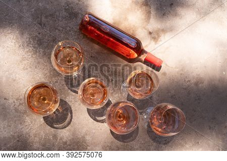 Pink Wine In Glasses And Bottle, Top View, Wine Testing Concept, Shadows Overlay
